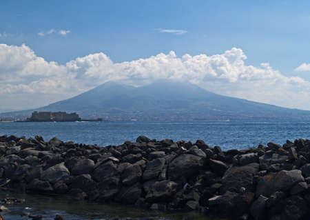 a view of Pompei Volcano in Naples Italy  photo