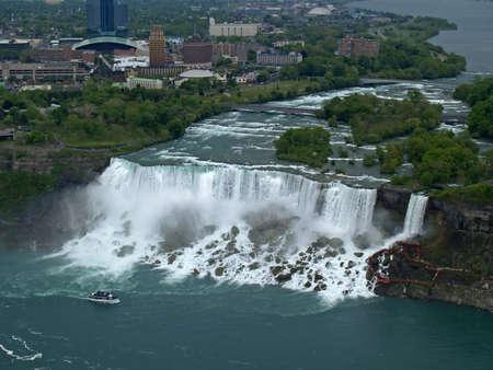 Aerial view of Niagara Falls between US and Canada     Stock Photo