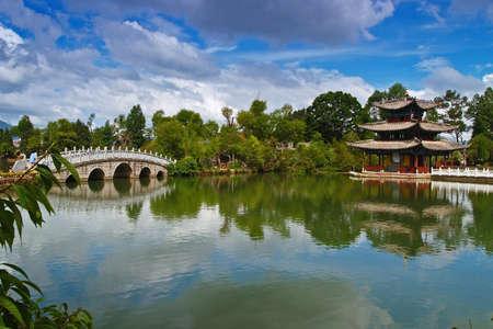 a city park in Lijiang China Stock Photo