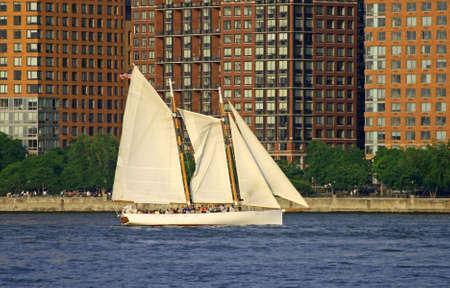A sailing boat at Lower Manhattan Stock fotó