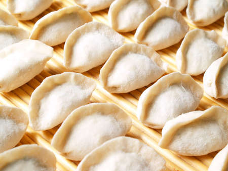 dumplings ready to cook - a  traditional Chinese food Stock Photo