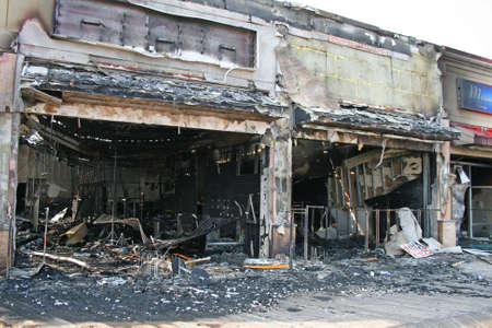 fire damage: A fire destroyed five stores on the Atlantic City Board Walk Stock Photo