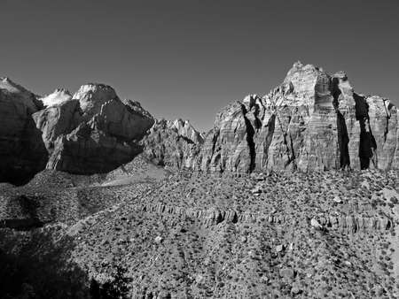 The Zion National Park in Utah USA, in black and white photo