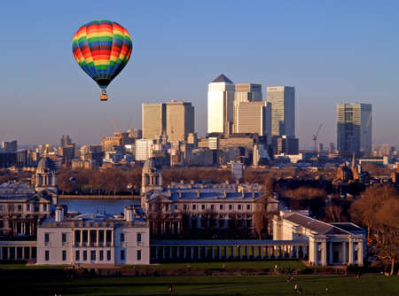 A view of London business center from Greenwich observatory   photo