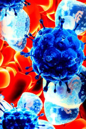 blutzellen: Close-up von roten Blutk�rperchen und Keime