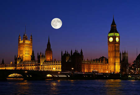 huge: The Big Ben at night in London UK Stock Photo