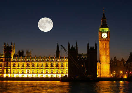 The Big Ben at night in London UK photo