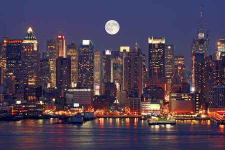 new york night: Manhattan Mid-town Skyline at Night
