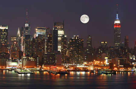 Manhattan Mid-town Skyline at Night Stock Photo - 1669009