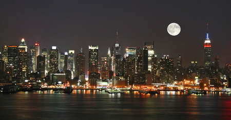 Manhattan Mid-town Skyline at Night Stock Photo - 1668989