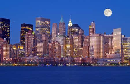 lunar month: The New York City Skyline at night
