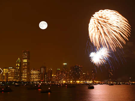 fourth of july: Chicago Skyline at night in United States Stock Photo