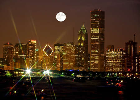 full moon effect: Chicago Skyline at night in United States Stock Photo