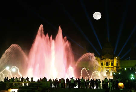 colourfully: The magnificent fountains in the night in Barcelona, Spain