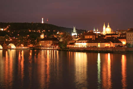 karlovy: The night view of the beautiful Prague City along the River Vltava