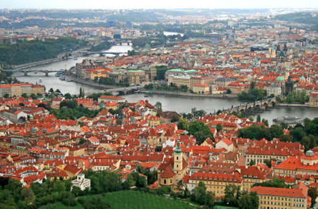 The aerial view of Prague City from Petrin Hill