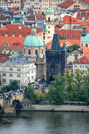 The aerial view of Prague City from Petrin Hill photo
