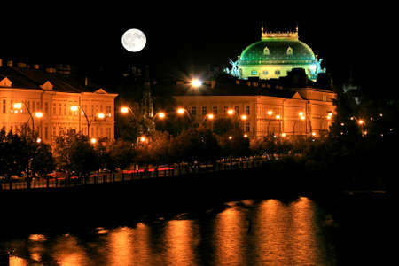 vltava: The night view of the beautiful Prague City along the River Vltava