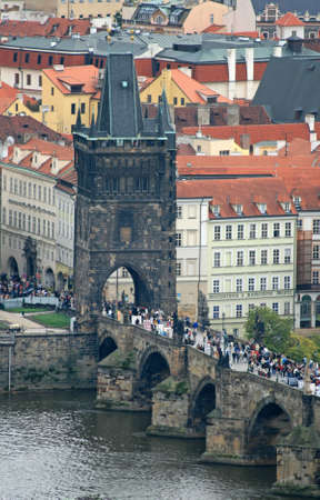 karlovy: The aerial view of Prague City from Petrin Hill