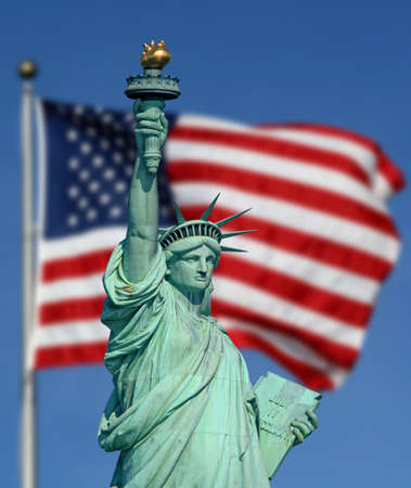 liberty: The Statue of Liberty and American Flag