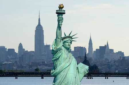 The Statue of Liberty and Manhattan Skyline Stock Photo - 1886913