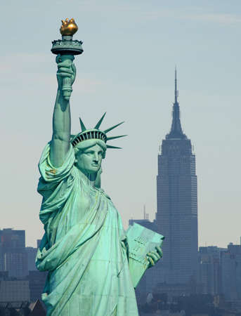 The Statue of Liberty and Manhattan Skyline Stock Photo - 1886905