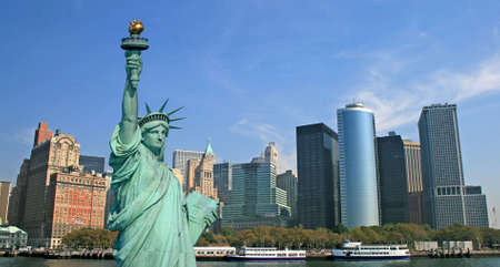 The Statue of Liberty and Manhattan Skyline Stock Photo - 1886917