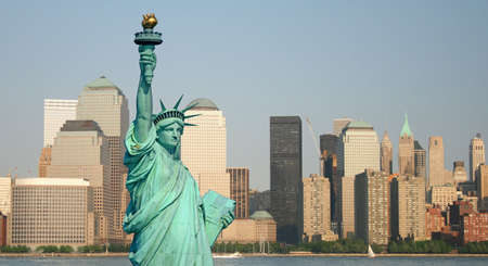 The Statue of Liberty and Manhattan Skyline Stock Photo - 1886914