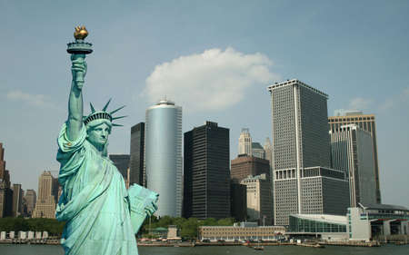 The Statue of Liberty and Manhattan Skyline Stock Photo - 1886915