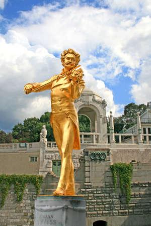 The Statue of Johann Strauss in stadtpark in Vienna, Austria Stock Photo