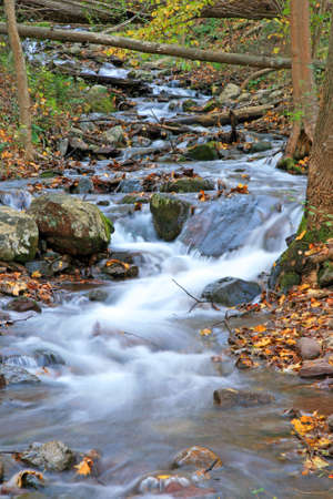 state of mood: The Douglas Falls in Delaware Water Gap recreation area Stock Photo