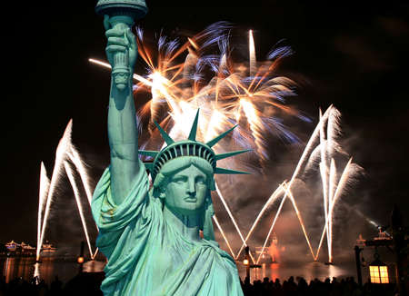 The Statue of Liberty and July 4th Firework photo