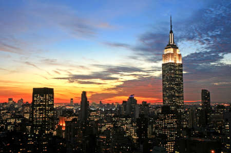 times: New York City midtown skyline at dark