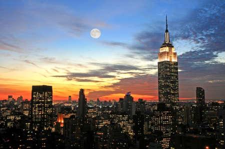 New York City midtown skyline at dark