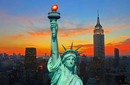 city view: The Statue of Liberty and New York City skyline at dark