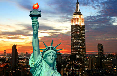 The Statue of Liberty and New York City skyline at dark Stock Photo - 2268893