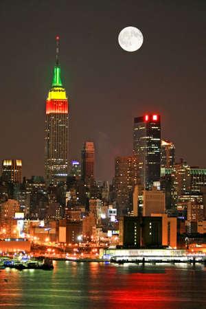 Manhattan Skyline at  Eve, New York City  Stock Photo
