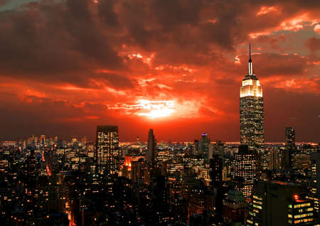 New York City midtown skyline at dark Stock Photo - 2366134