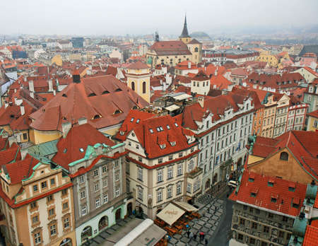 aerial view of Old Town Square neighborhood in Prague from the top of the town hall