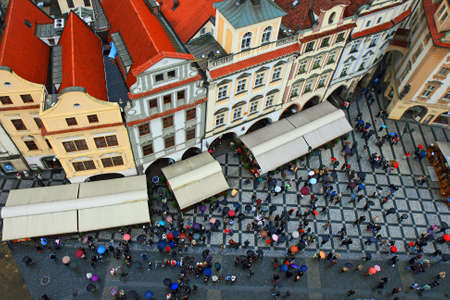 aerial view of Old Town Square neighborhood in Prague from the top of the town hall  photo