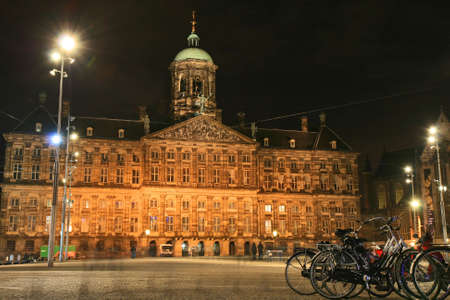 Street scene in Amsterdam Holland at night photo