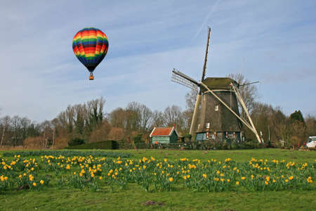 Hot air balloon and Windmill in Holland
