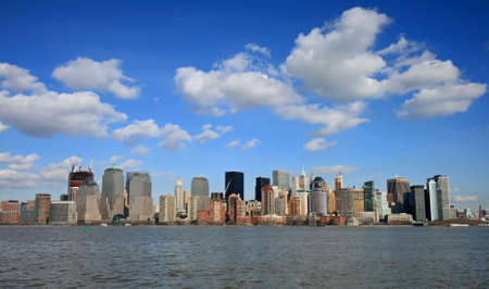 The Lower Manhattan Skyline viewed from Liberty Park New Jersey Stock Photo