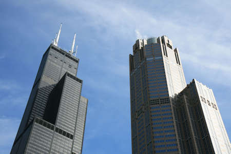 The high-rise buildings in the downtown Chicago