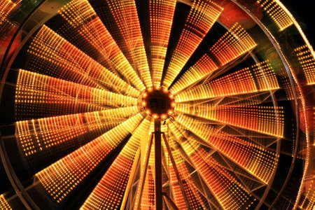 pendulum: The beautiful light trails at night in a county carnival in New Jersey