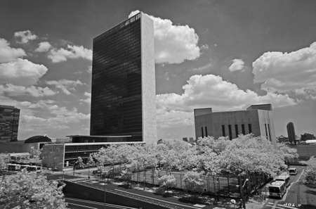 headquarter: The United Nation Headquarter Plaza in New York City - an infrared image Stock Photo