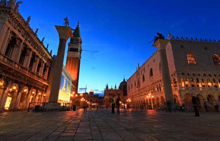 The night scene of San Marco Plaza in Venice Italy Stockfoto
