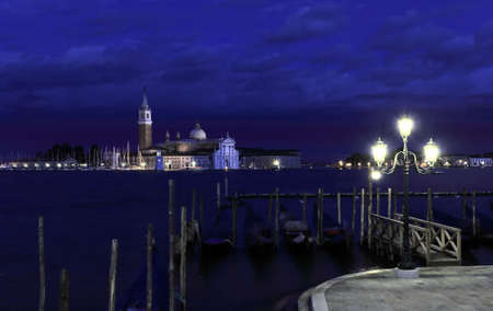 The San Giorgio Maggiore Church in Venice Italy at night photo