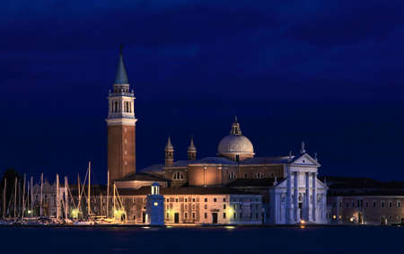 The San Giorgio Maggiore Church in Venice Italy at night
