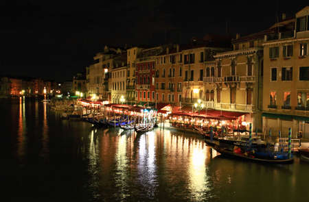 The scenery along the Grand Canal in Venice Italy at night